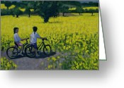 Rapeseed Greeting Cards - Yellow Field Greeting Card by Andrew Macara