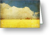 Old Wall Digital Art Greeting Cards - Yellow field Greeting Card by Setsiri Silapasuwanchai