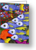 Featured Painting Greeting Cards - Yellow Fins Greeting Card by Catherine G McElroy