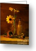 Surface Greeting Cards - Yellow flower still life Greeting Card by Sandra Cunningham