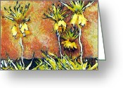 Gold Lame Painting Greeting Cards - Yellow flowers Greeting Card by Odon Czintos