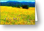 Impressionist Digital Art Greeting Cards - Yellow Hills Greeting Card by Wingsdomain Art and Photography