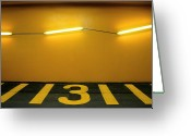 Parking Lot Greeting Cards - Yellow Iii - Jaune Iii Greeting Card by Stéfan Le Dû