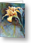 Yellow Sculpture Greeting Cards - Yellow Iris Greeting Card by Alan Smith