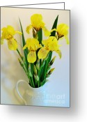 Pitcher Greeting Cards - Yellow Iris Bouquet Greeting Card by Marsha Heiken