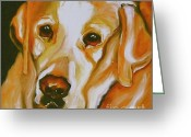 Canvas Drawings Greeting Cards - Yellow Lab Amazing Grace Greeting Card by Susan A Becker