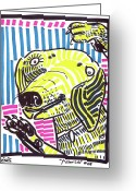 Street Art Drawings Greeting Cards - Yellow Lab Greeting Card by Robert Wolverton Jr