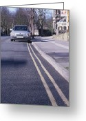 Yellow Line Greeting Cards - Yellow Lines On Road Greeting Card by Andrew Lambert Photography