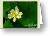Artography By Julie Dant Greeting Cards - Yellow Lotus Blossom in Mississippi  Greeting Card by Julie Dant