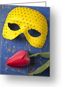 Masks Greeting Cards - Yellow mask and red tulip Greeting Card by Garry Gay