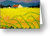 Artist Canvas Painting Greeting Cards - yellow Meadow Ireland Greeting Card by John  Nolan