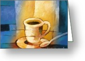 Espresso Art Greeting Cards - Yellow Morning Cup Greeting Card by Lutz Baar