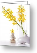On White Greeting Cards - Yellow Orchid Bunchs Greeting Card by Atiketta Sangasaeng
