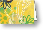 Elm Greeting Cards - Yellow Paisley Garden Greeting Card by Linda Woods