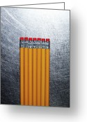 Stainless Steel Greeting Cards - Yellow Pencils With Erasers On Stainless Steel. Greeting Card by Ballyscanlon