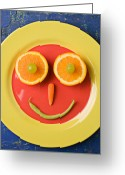 Oranges Greeting Cards - Yellow plate with food face Greeting Card by Garry Gay