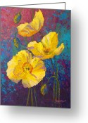 Vineyard Greeting Cards - Yellow Poppies Greeting Card by Marion Rose
