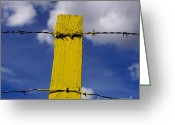 Barbed Wire Greeting Cards - Yellow post Greeting Card by Bernard Jaubert
