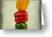 Vitamin Greeting Cards - Yellow red and green bell pepper Greeting Card by Bernard Jaubert