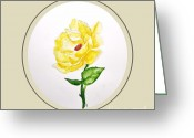 Digitalized Greeting Cards - Yellow Rose Painting Greeting Card by Marsha Heiken