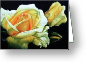 Floral Print Greeting Cards - Yellow Roses Greeting Card by Hanne Lore Koehler