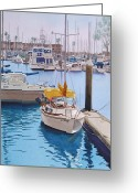 Harbors Greeting Cards - Yellow Sailboat Oceanside Greeting Card by Mary Helmreich