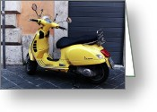 Old Prints Posters Greeting Cards - Yellow Scooter in Roma Greeting Card by John Rizzuto