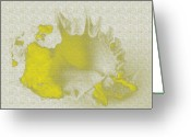 Seaside Mixed Media Greeting Cards - Yellow shell Greeting Card by Carol Lynch