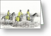 Cowboy Sketches Greeting Cards - Yellow Slickers Greeting Card by Jack Schilder