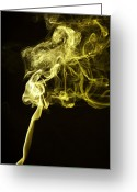 Geometric Framed Prints Greeting Cards - Yellow Smoke Greeting Card by M K  Miller