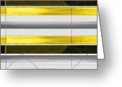 Lines Greeting Cards - Yellow Stripes Greeting Card by Irina  March