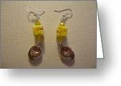 Earrings Jewelry Greeting Cards - Yellow Swirl Follow Your Heart Earrings Greeting Card by Jenna Green