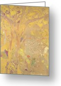 Redon Greeting Cards - Yellow Tree Greeting Card by Odilon Redon