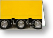 Delivery Greeting Cards - Yellow Truck Greeting Card by Carlos Caetano