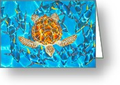 Fish Tapestries - Textiles Greeting Cards - Yellowfin Frenzy Greeting Card by Daniel Jean-Baptiste