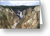 Lower Yellowstone Falls Greeting Cards - Yellowstone Artists Point View Greeting Card by Sandy L. Kirkner