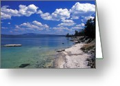 Featured Artwork Prints Greeting Cards - Yellowstone Lake Greeting Card by Kathy Yates