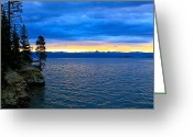 Bleu Greeting Cards - Yellowstone Lake Sunrise Greeting Card by Karon Melillo DeVega