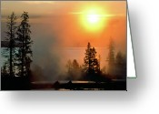 Lakescape Greeting Cards - Yellowstone Lake Sunrise over West Thumb Greeting Card by Ed  Riche