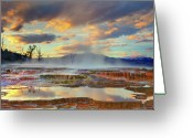 Hot Springs Greeting Cards - Yellowstone National Park-mammoth Hot Springs Greeting Card by Kevin McNeal