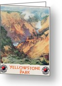 Clouds Posters Greeting Cards - Yellowstone Park Greeting Card by Thomas Moran