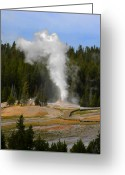 Yellowstone Landscape Art Greeting Cards - Yellowstone Park WY - Geyser letting off steam Greeting Card by Christine Till