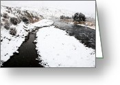 Butte Creek Greeting Cards - Yellowstone Park Wyoming Winter Snow soda butte creek Greeting Card by Mark Duffy