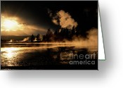Dramatic Light Greeting Cards - Yellowstone River Sunrise Greeting Card by Sandra Bronstein