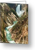 Grand Canyon Greeting Cards - Yellowstone Waterfalls Greeting Card by Sebastian Musial