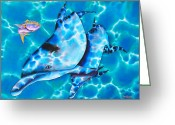 Silk Art Greeting Cards - Yellowtail Snapper and  Dolphins Greeting Card by Daniel Jean-Baptiste