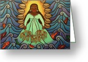 Waves Painting Greeting Cards - Yemaya Greeting Card by Laura James