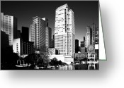 Mario Art Greeting Cards - Yerba Buena Garden 2 . bw Greeting Card by Wingsdomain Art and Photography