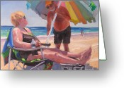 Beach Umbrella Painting Greeting Cards - Yes Dear Greeting Card by Laura Lee Zanghetti