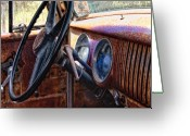 Old Car Pyrography Greeting Cards - Yesterday Greeting Card by Larry Alford